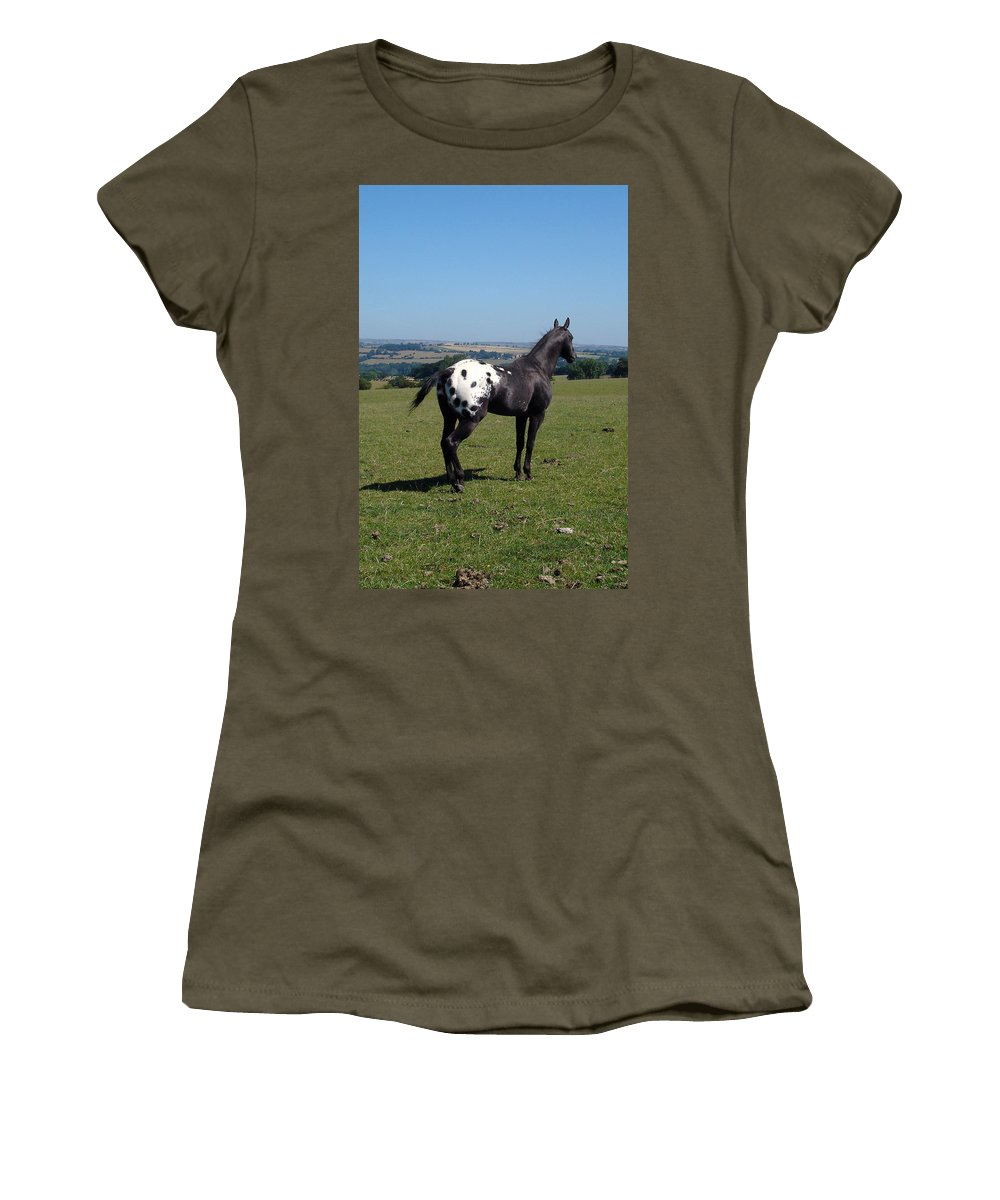 Horses Women's T-Shirt (Athletic Fit) featuring the photograph All He Surveys by Susan Baker