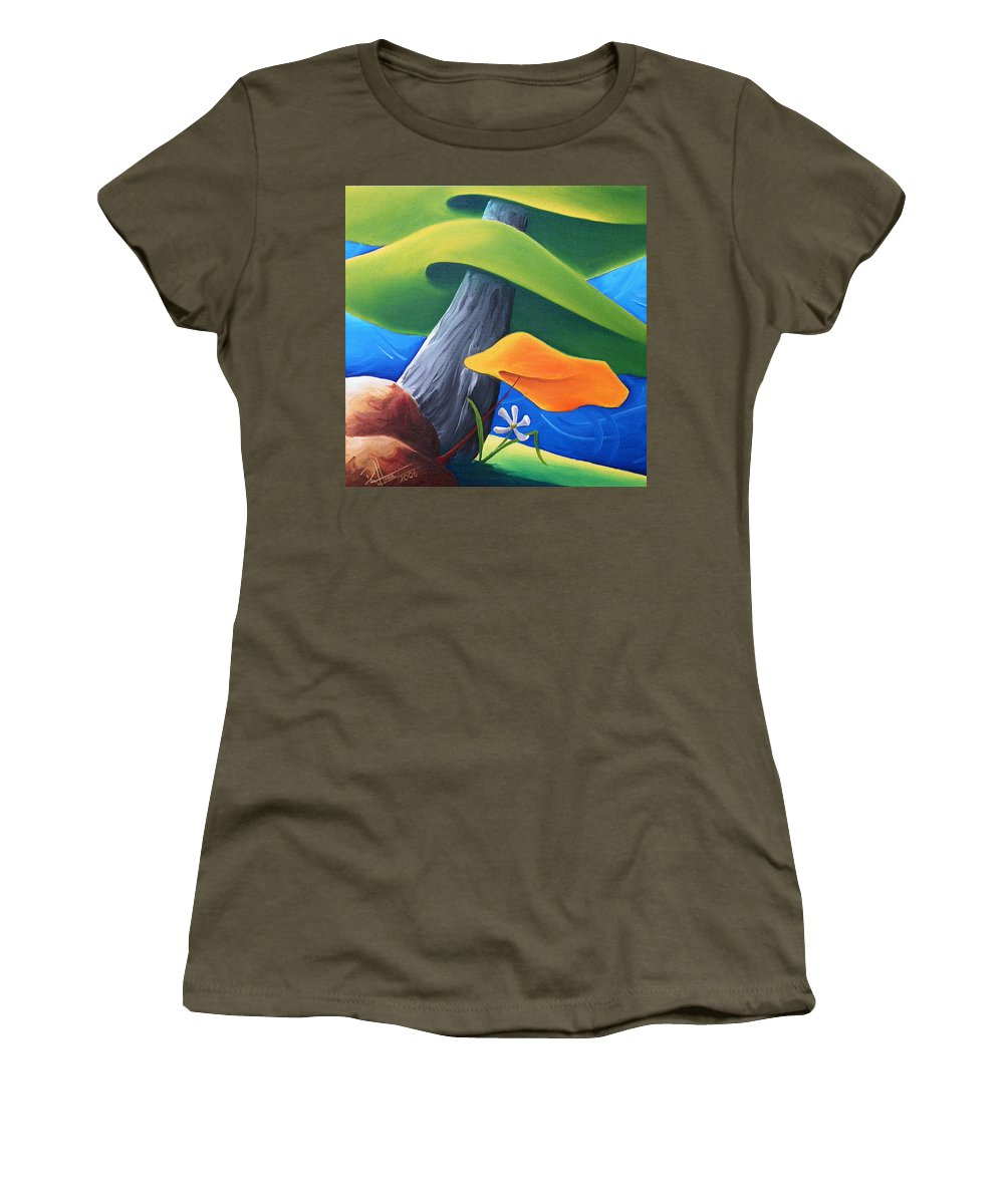 Landscape Women's T-Shirt featuring the painting All Under One Roof by Richard Hoedl