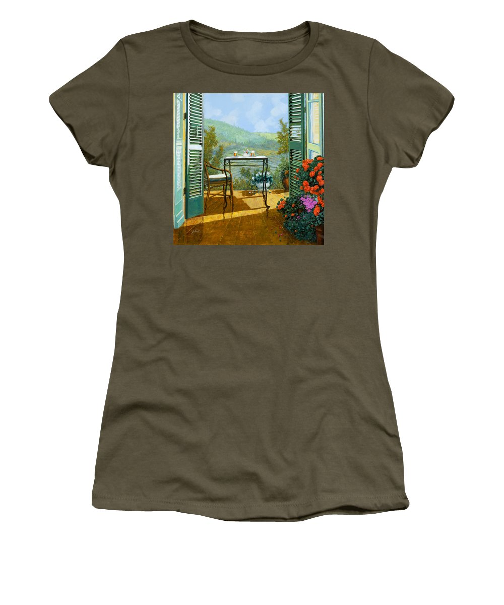 Terrace Women's T-Shirt featuring the painting Alle Dieci Del Mattino by Guido Borelli