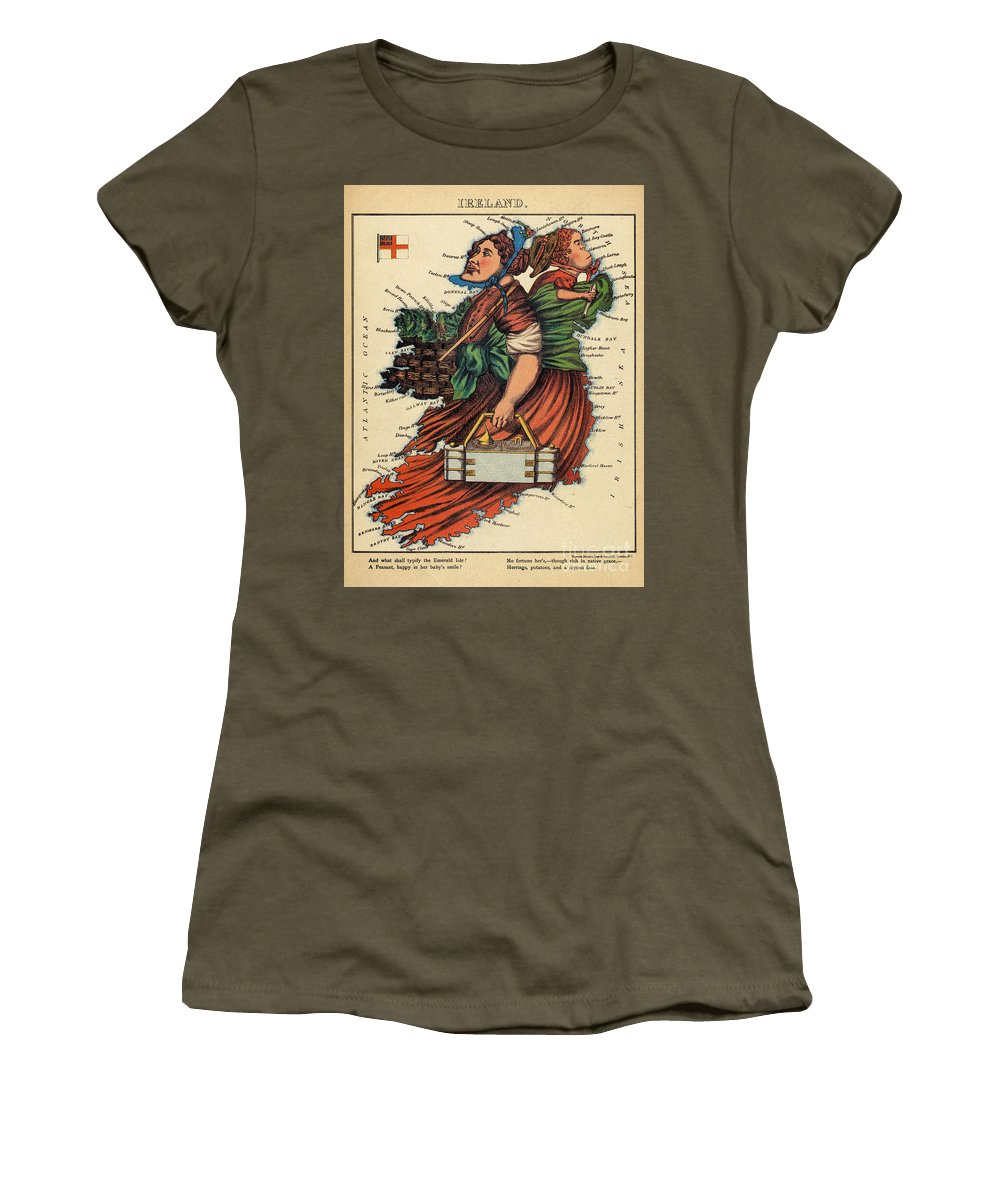 Ireland Women's T-Shirt (Athletic Fit) featuring the drawing Allegory Of Ireland by English School
