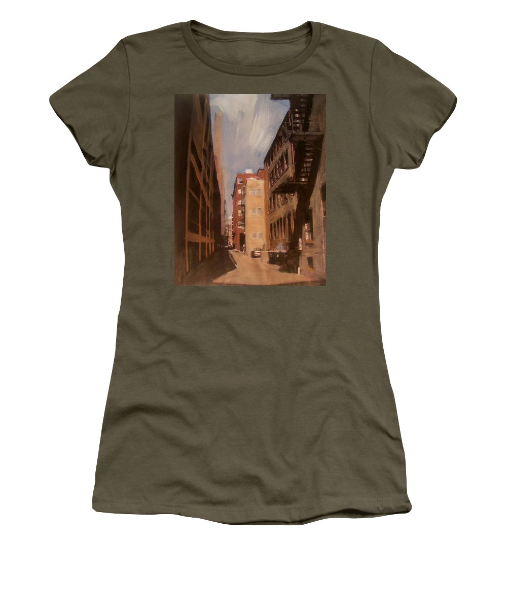 Alley Women's T-Shirt featuring the mixed media Alley Series 1 by Anita Burgermeister