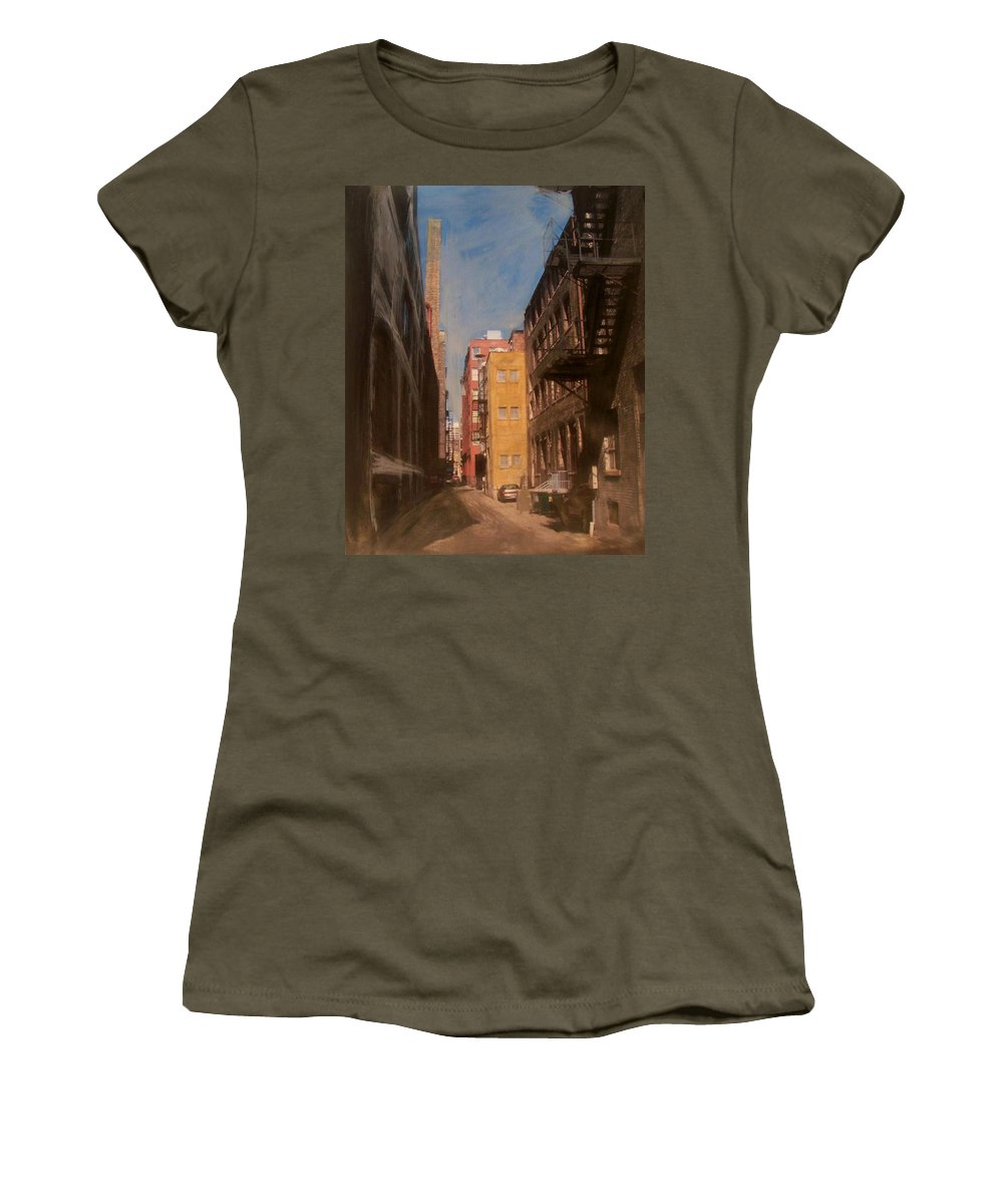 Alley Women's T-Shirt featuring the mixed media Alley Series 2 by Anita Burgermeister
