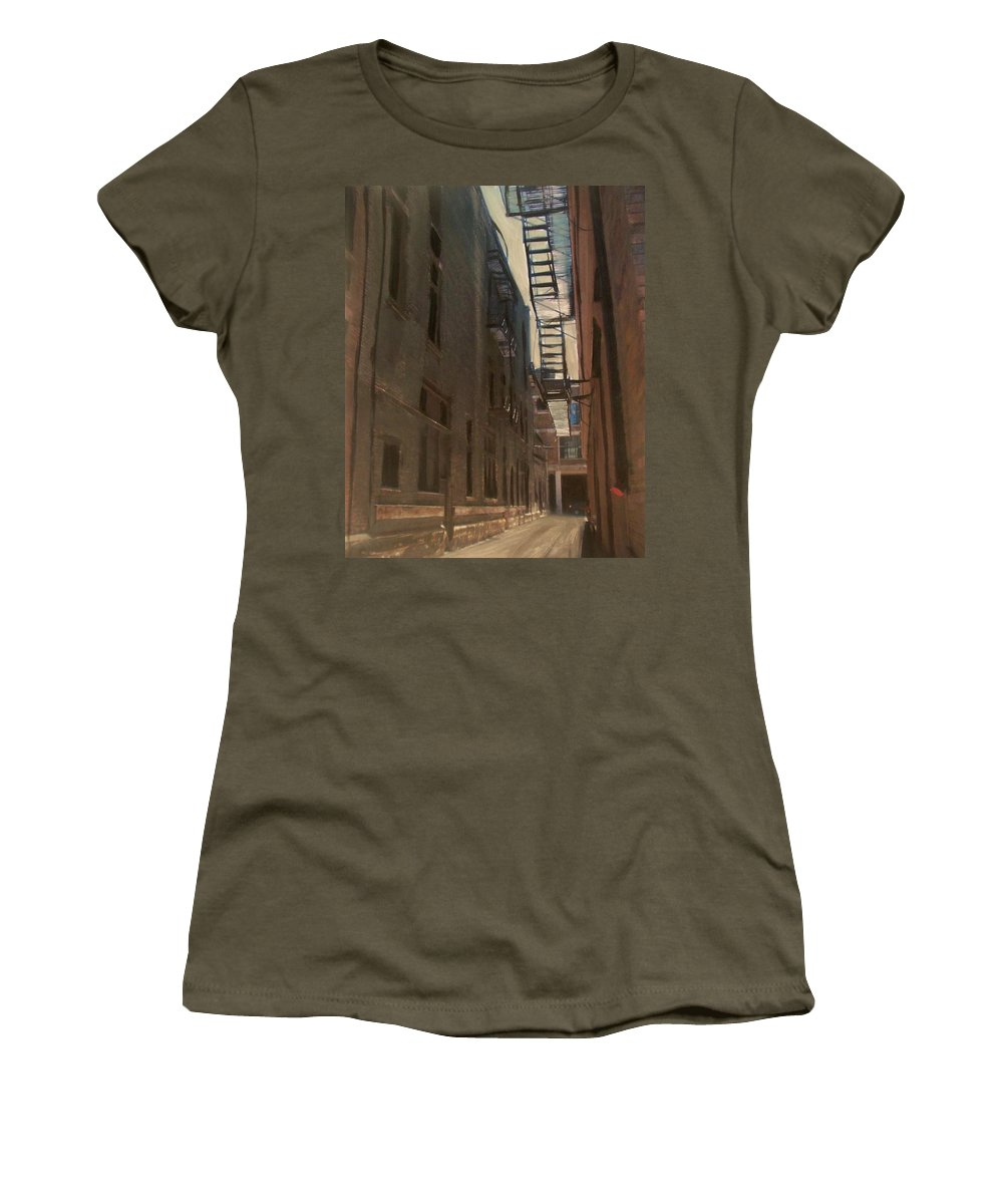 Alley Women's T-Shirt featuring the painting Alley Series 5 by Anita Burgermeister