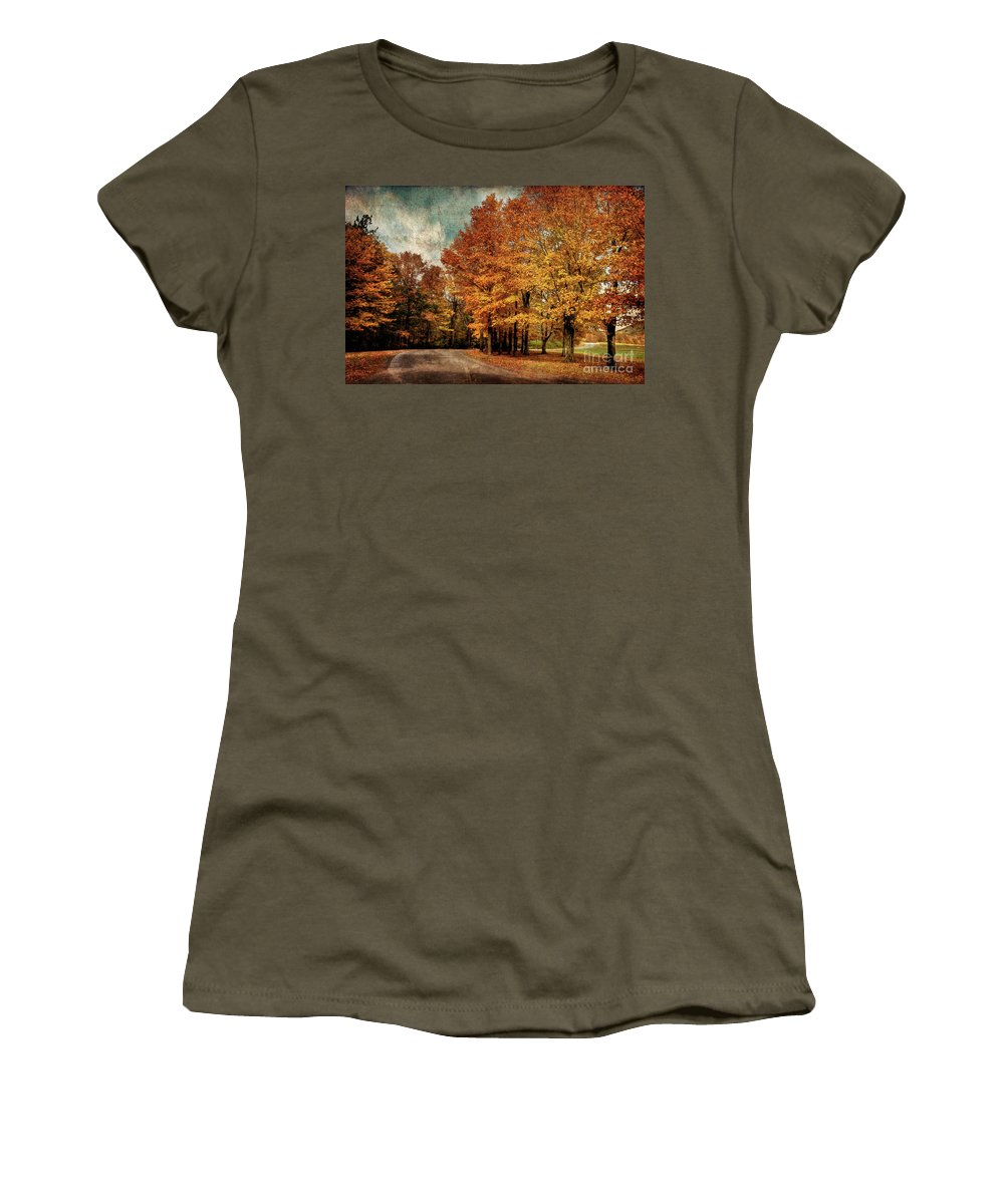 Country Road Women's T-Shirt featuring the photograph Almost Home by Lois Bryan