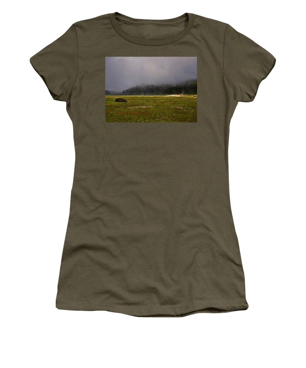 Nature Women's T-Shirt (Athletic Fit) featuring the photograph Alone In Fog by John K Sampson