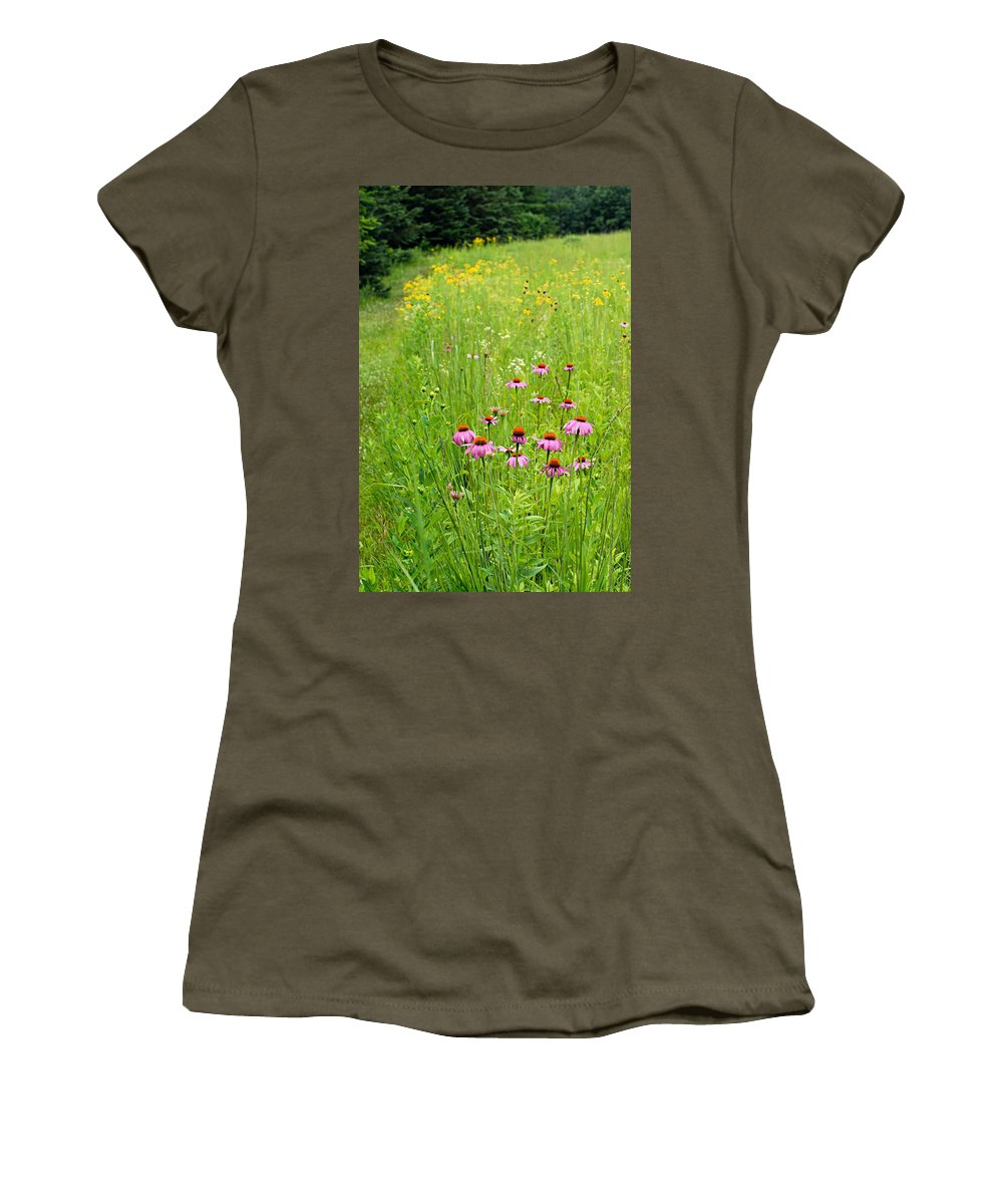 Photography Women's T-Shirt (Athletic Fit) featuring the photograph Along A Prairie Path by Larry Ricker