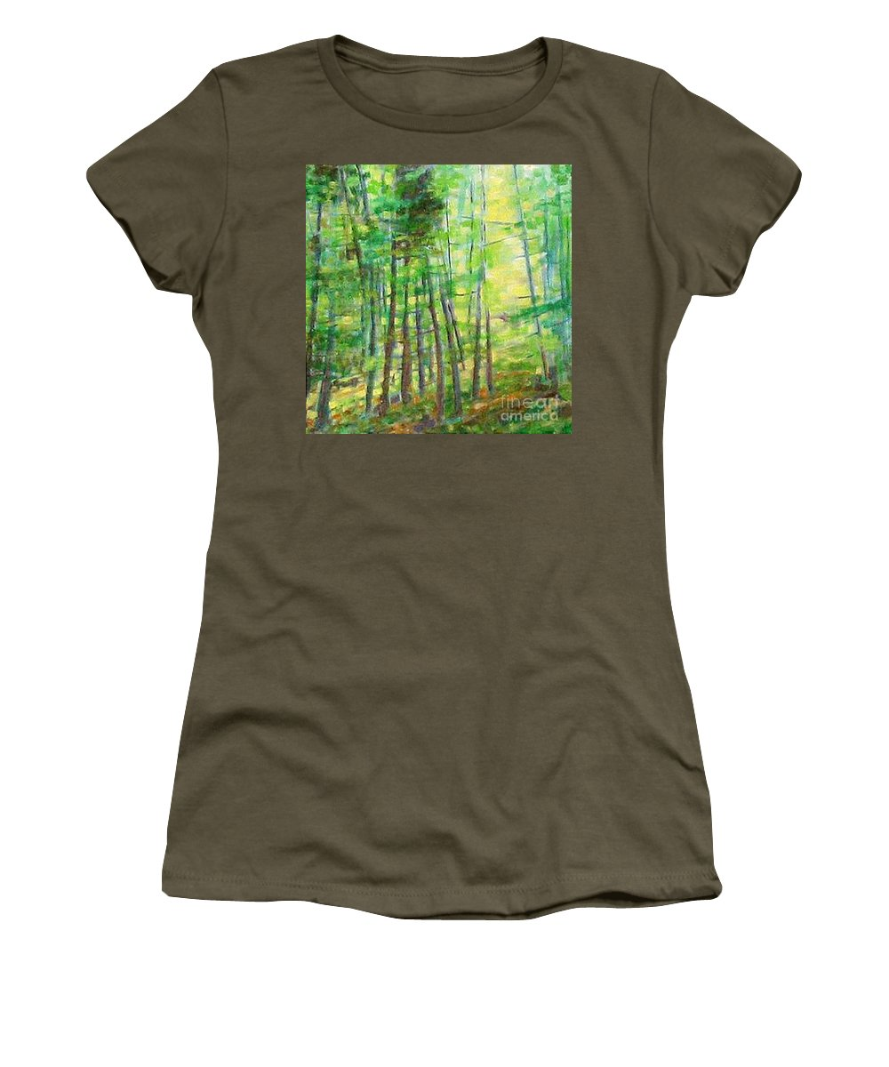 Landscape Women's T-Shirt featuring the painting Along Buckslide Road by Karen Sloan