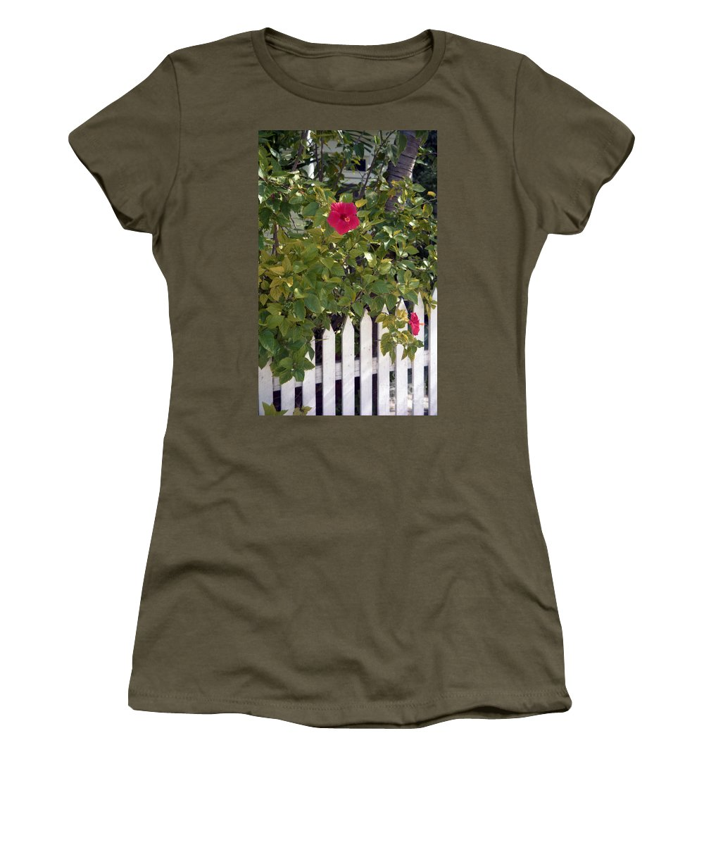 Azelea Women's T-Shirt (Athletic Fit) featuring the photograph Along The Picket Fence by Richard Rizzo