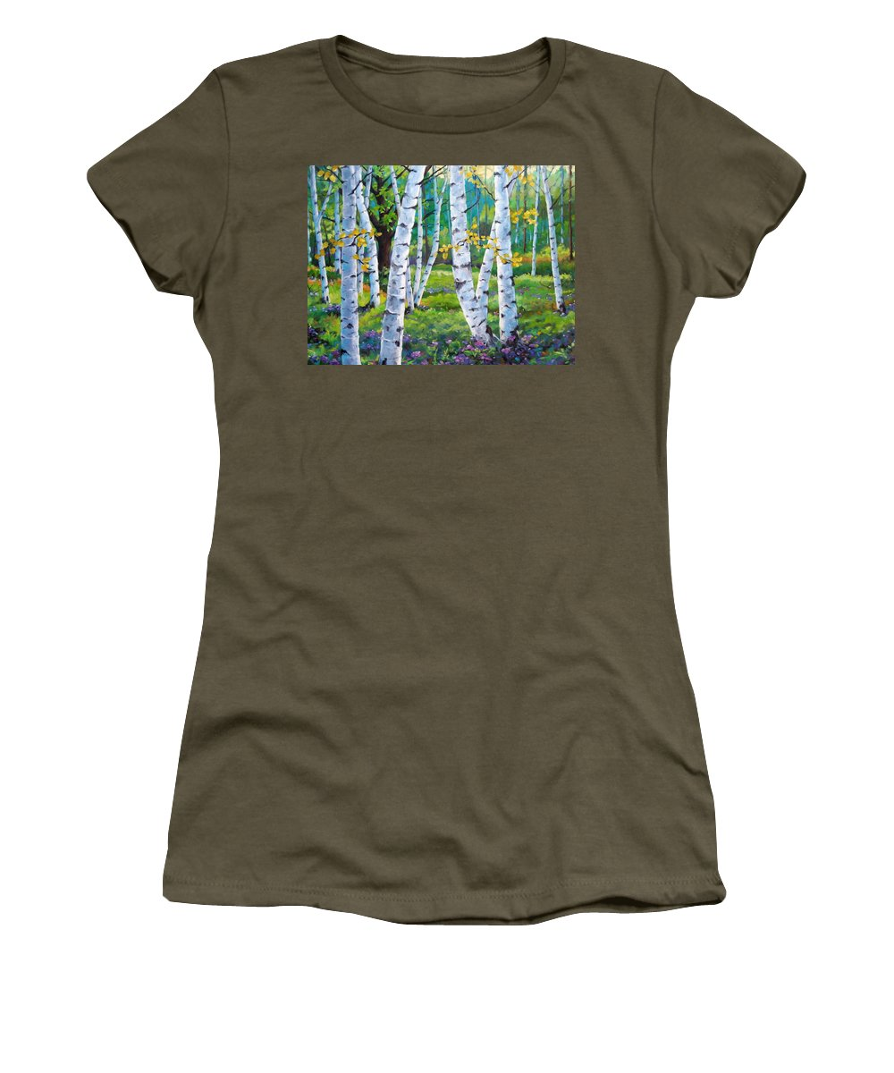 Birche; Birches; Tree; Trees; Nature; Landscape; Landscapes Scenic; Richard T. Pranke; Canadian Artist Painter Women's T-Shirt (Athletic Fit) featuring the painting Alpine Flowers And Birches by Richard T Pranke