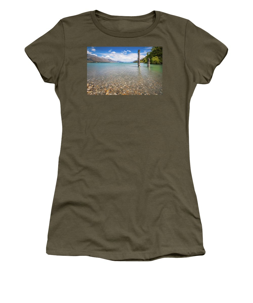 Dart Women's T-Shirt featuring the photograph Alpine Scenery From Dart River Bed In Kinloch, New Zealand by Daniela Constantinescu