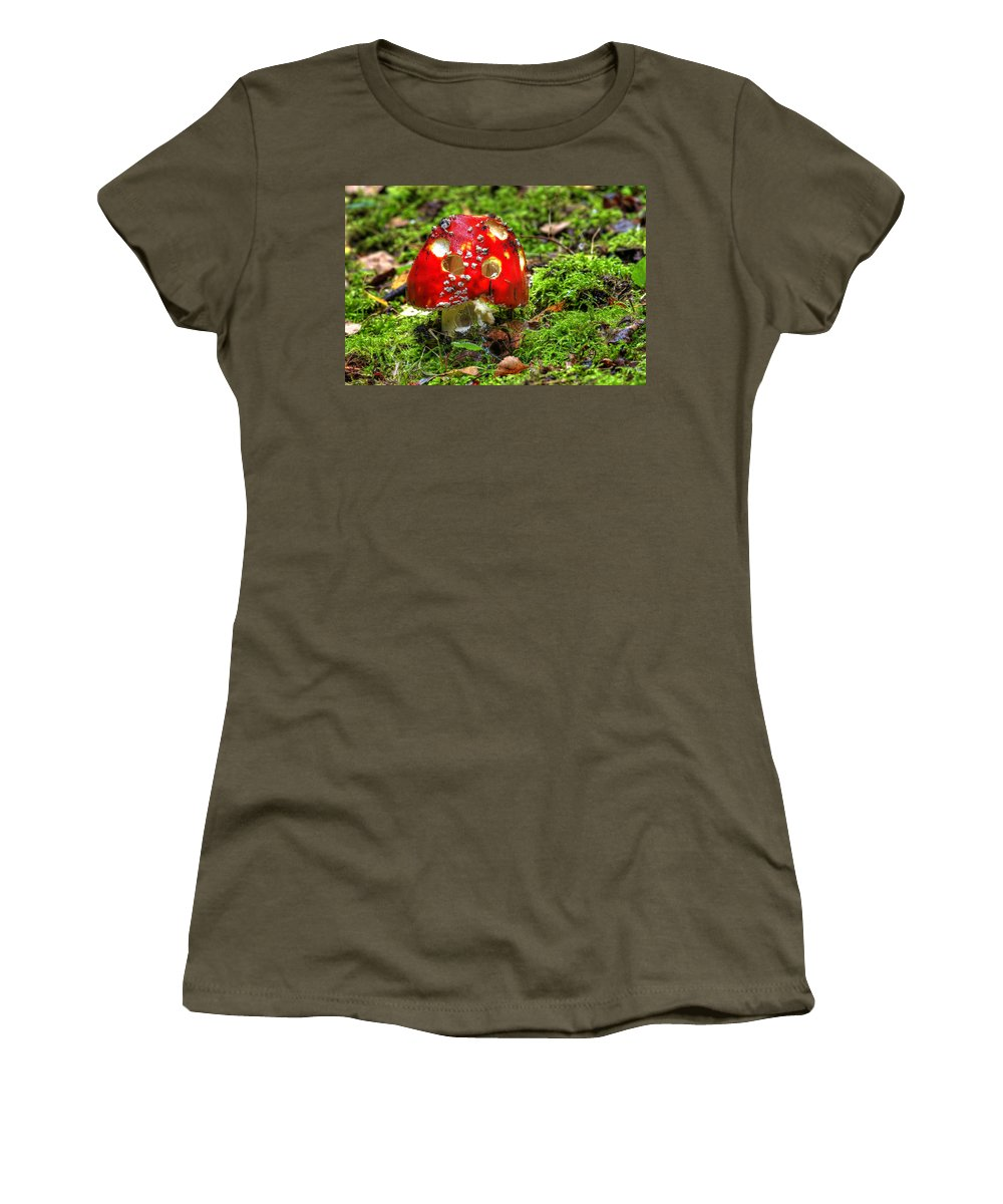Amanita Muscaria Women's T-Shirt (Athletic Fit) featuring the photograph Amanita Muscaria by Michal Boubin