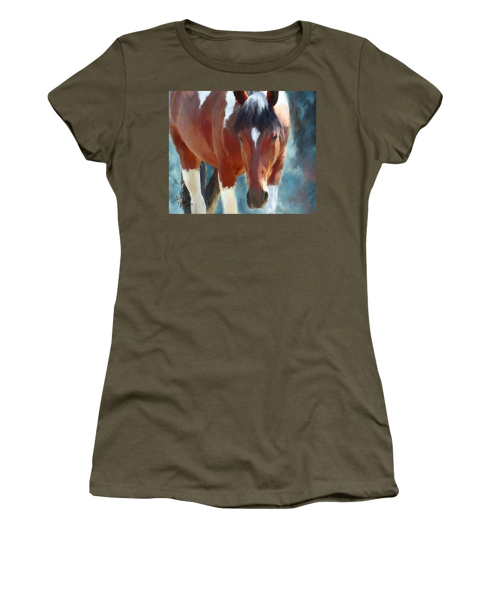 Mixed Media Women's T-Shirt (Athletic Fit) featuring the painting Ambers Run by Colleen Taylor