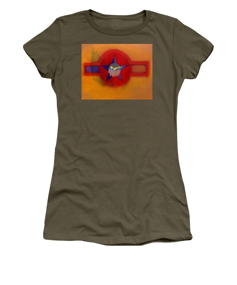 Usaaf Insignia And Idealised Landscape In Union Women's T-Shirt (Athletic Fit) featuring the painting American Sub Decal by Charles Stuart