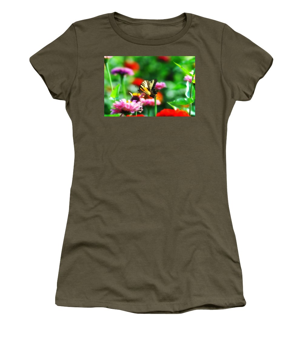 Butterfly Women's T-Shirt (Athletic Fit) featuring the photograph Amongst The Flowers by Bill Cannon