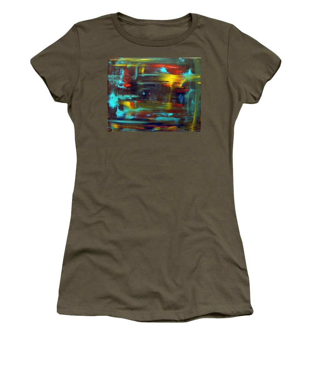 Red Blue Yellow Gold Brown Cad Orange Eyes Obama Oscar  Face Thought Emotions Women's T-Shirt (Athletic Fit) featuring the painting An Abstract Thought by Jack Diamond
