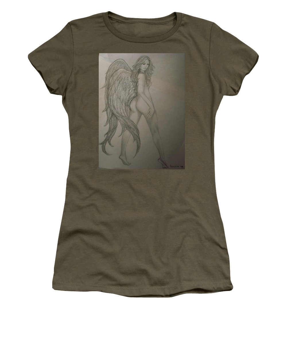 Angel Women's T-Shirt featuring the drawing An Angel by Glory Fraulein Wolfe