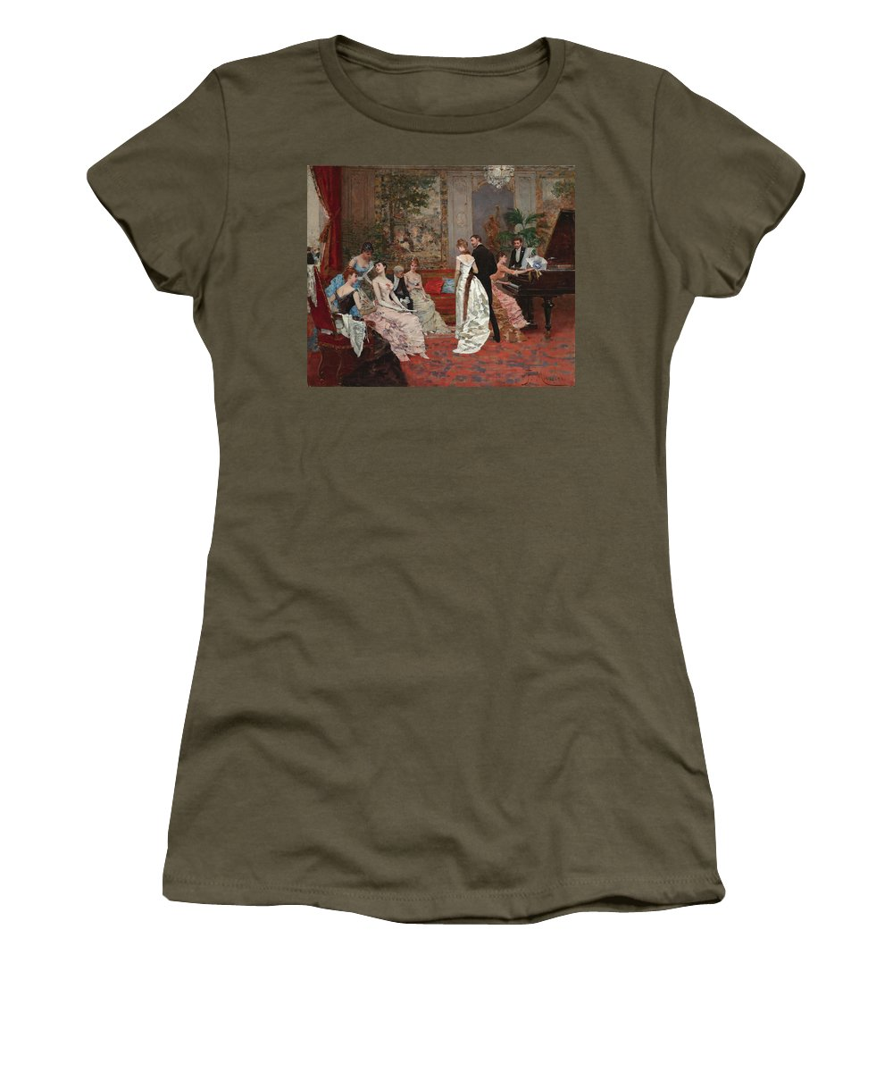 Francisco Miralles Women's T-Shirt (Athletic Fit) featuring the painting An Elegant Soiree by Francisco Miralles