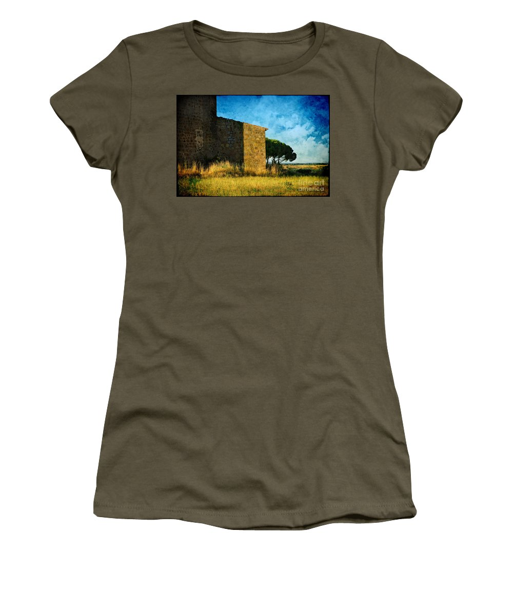 Ancient Women's T-Shirt featuring the photograph Ancient Church - Italy by Silvia Ganora