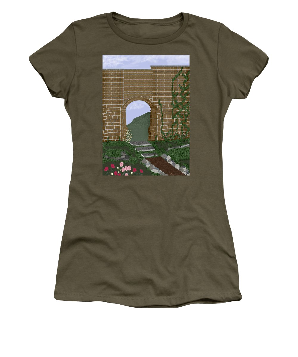 Irish Ruins Women's T-Shirt (Athletic Fit) featuring the painting Ancient Walls by Anne Norskog