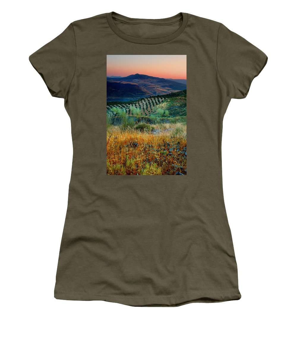 Andalucia Women's T-Shirt (Athletic Fit) featuring the photograph Andalucian Landscape by Mal Bray