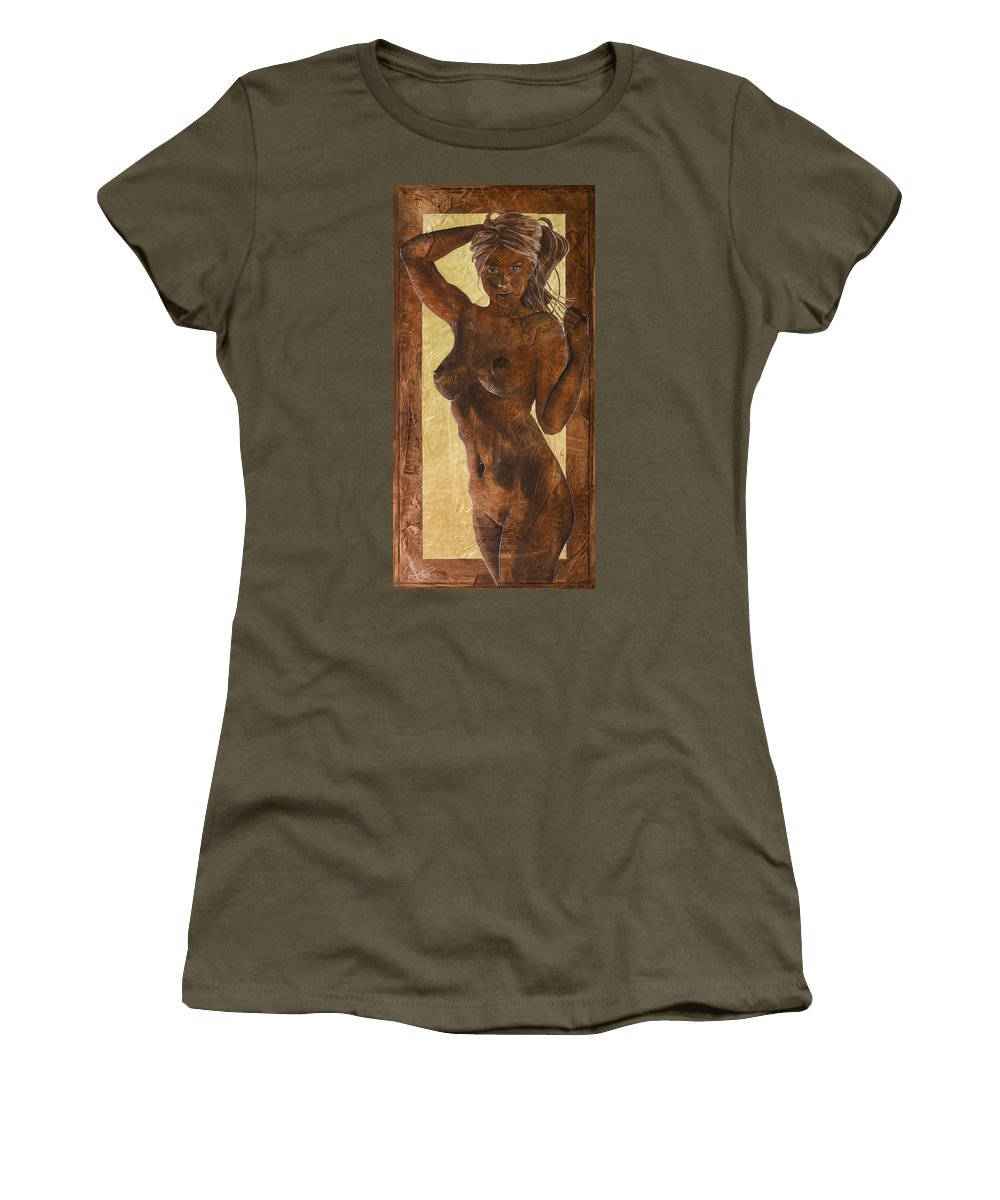 Nude Women's T-Shirt featuring the painting Angel In Gold by Richard Hoedl