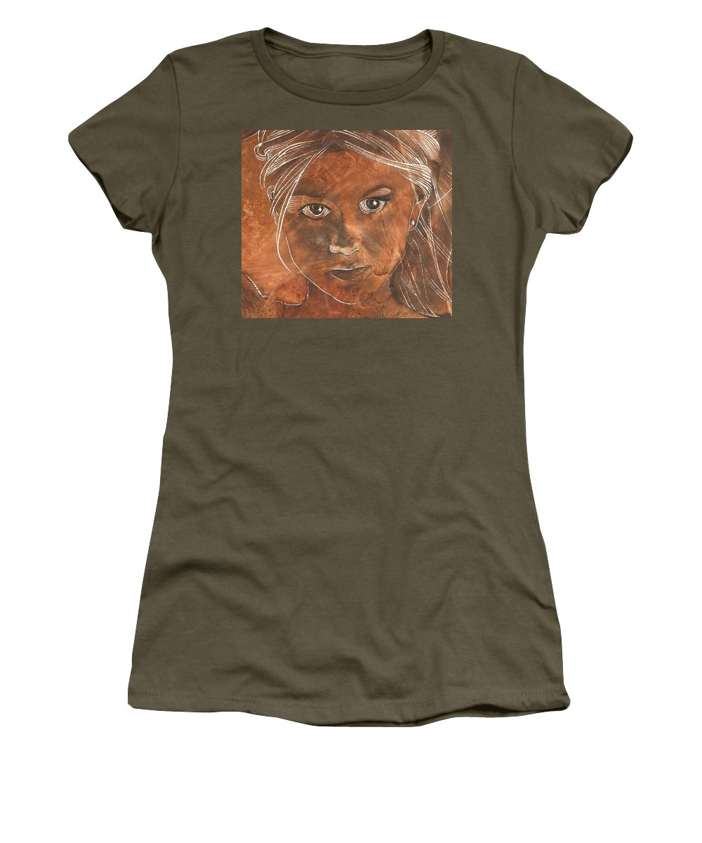 Nude Women's T-Shirt featuring the painting Angel In Process Head Detail by Richard Hoedl