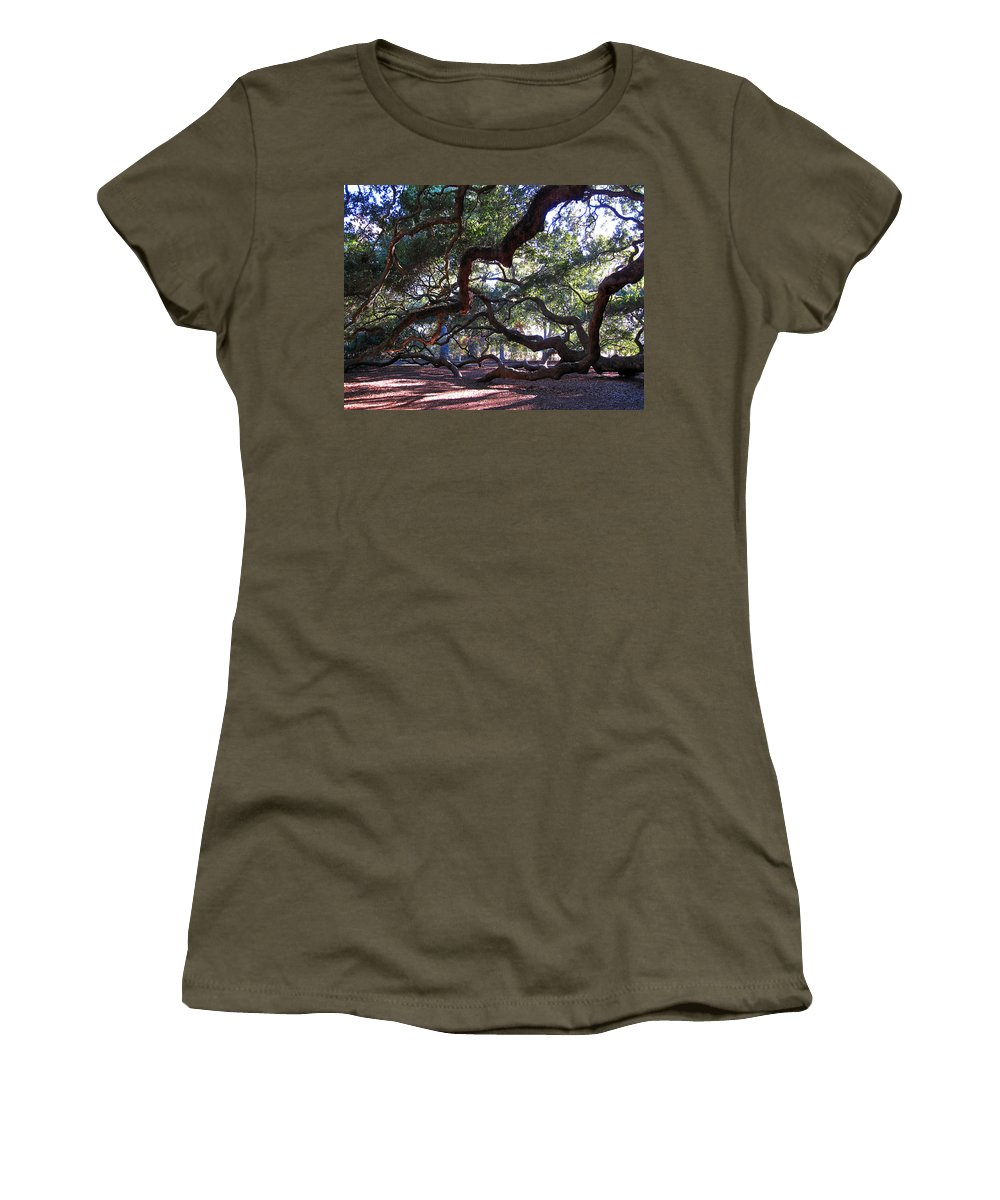 Photography Women's T-Shirt featuring the photograph Angel Oak Side View by Susanne Van Hulst