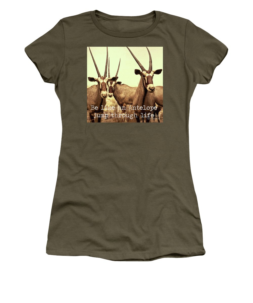 Antelope Women's T-Shirt (Athletic Fit) featuring the photograph Antelopes by Zena Zero
