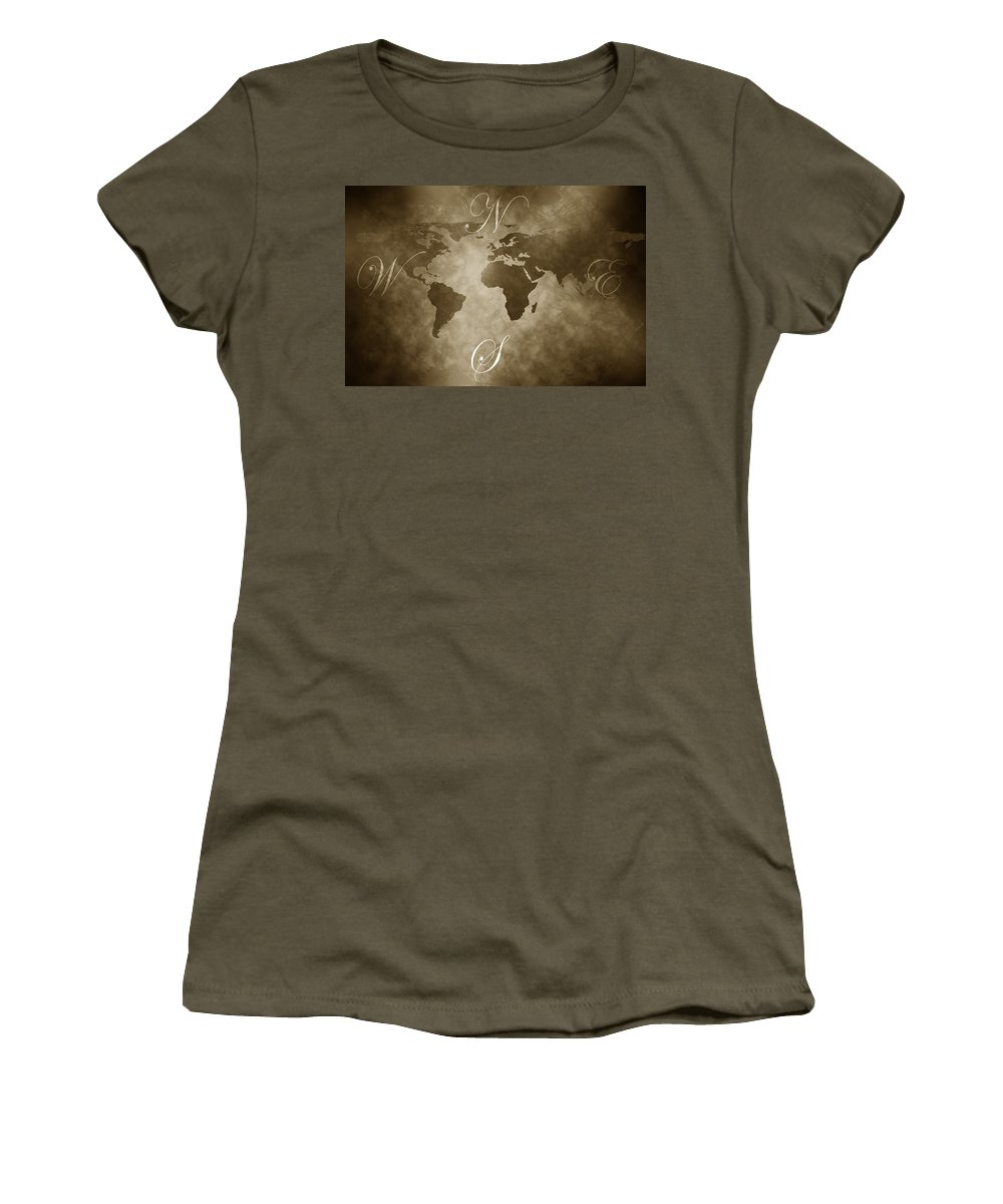 Compass Women's T-Shirt (Athletic Fit) featuring the digital art Antique World Map by Phill Petrovic
