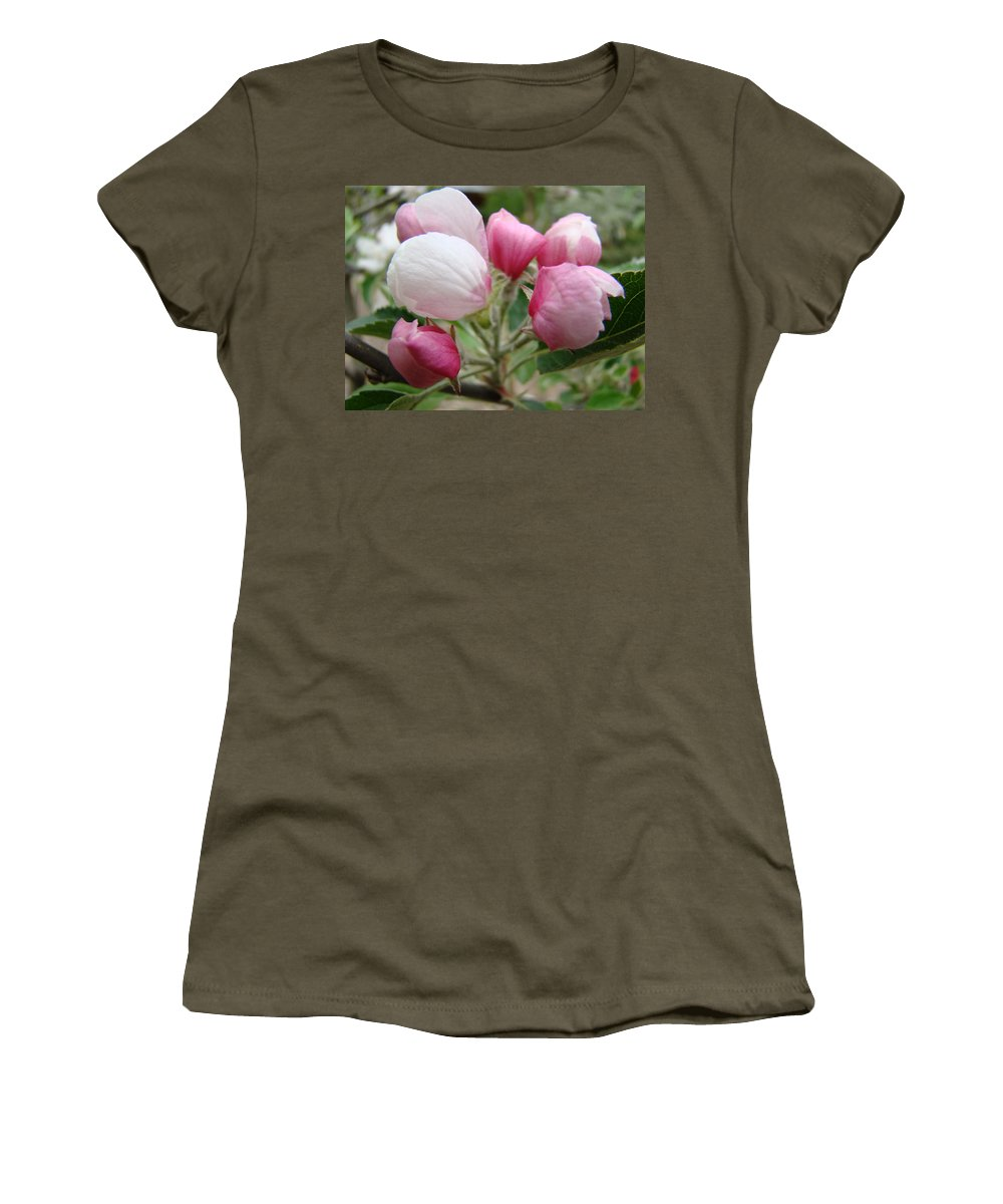 Apple Women's T-Shirt (Athletic Fit) featuring the photograph Apple Blossom Buds Art Prints Spring Blossoms Baslee Troutman by Baslee Troutman