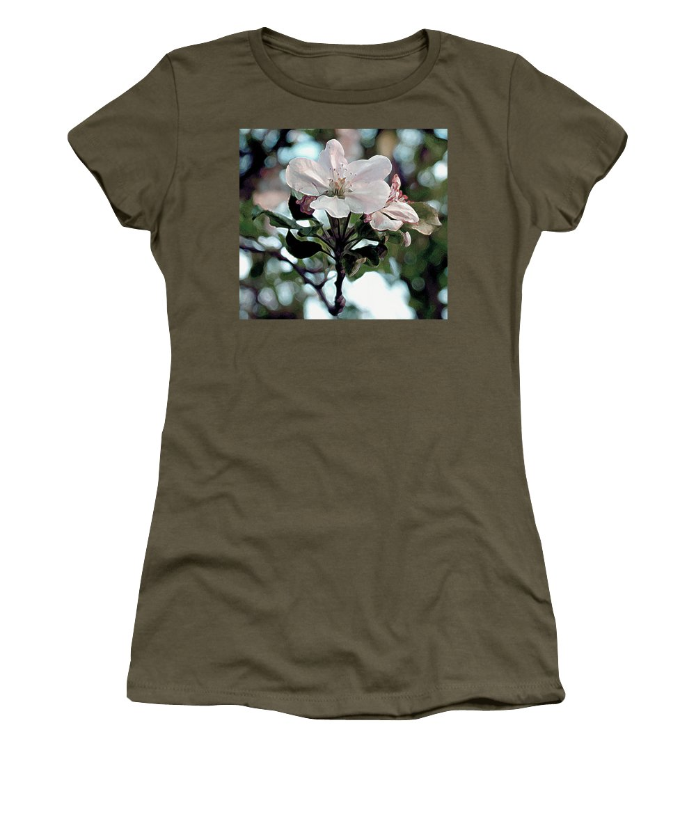 Blossom Women's T-Shirt (Athletic Fit) featuring the painting Apple Blossom Time by RC deWinter