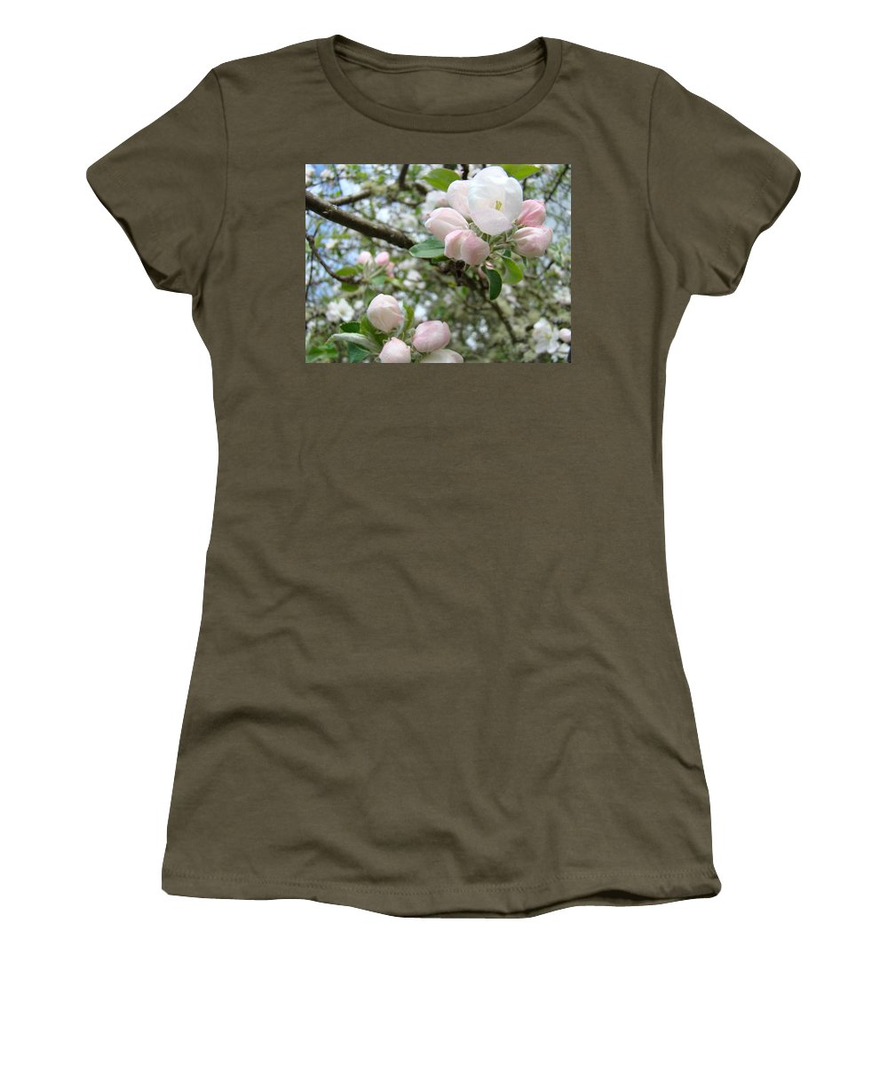 Apple Women's T-Shirt featuring the photograph Apple Tree Blossoms Art Prints Apple Blossom Buds Baslee Troutman by Baslee Troutman