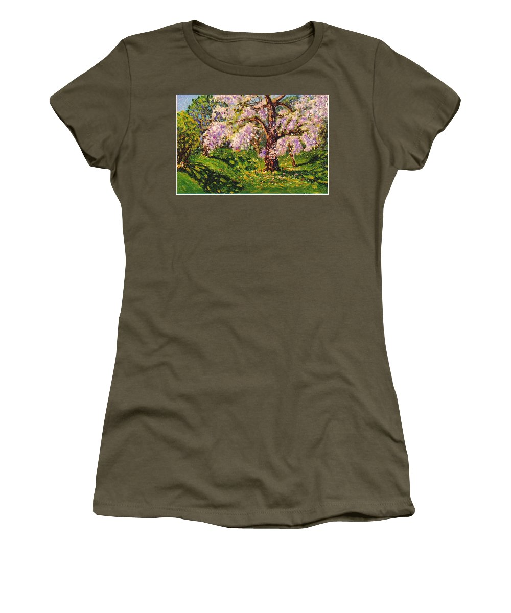 Scenic Women's T-Shirt (Athletic Fit) featuring the painting April Dream by Jonathan Carter