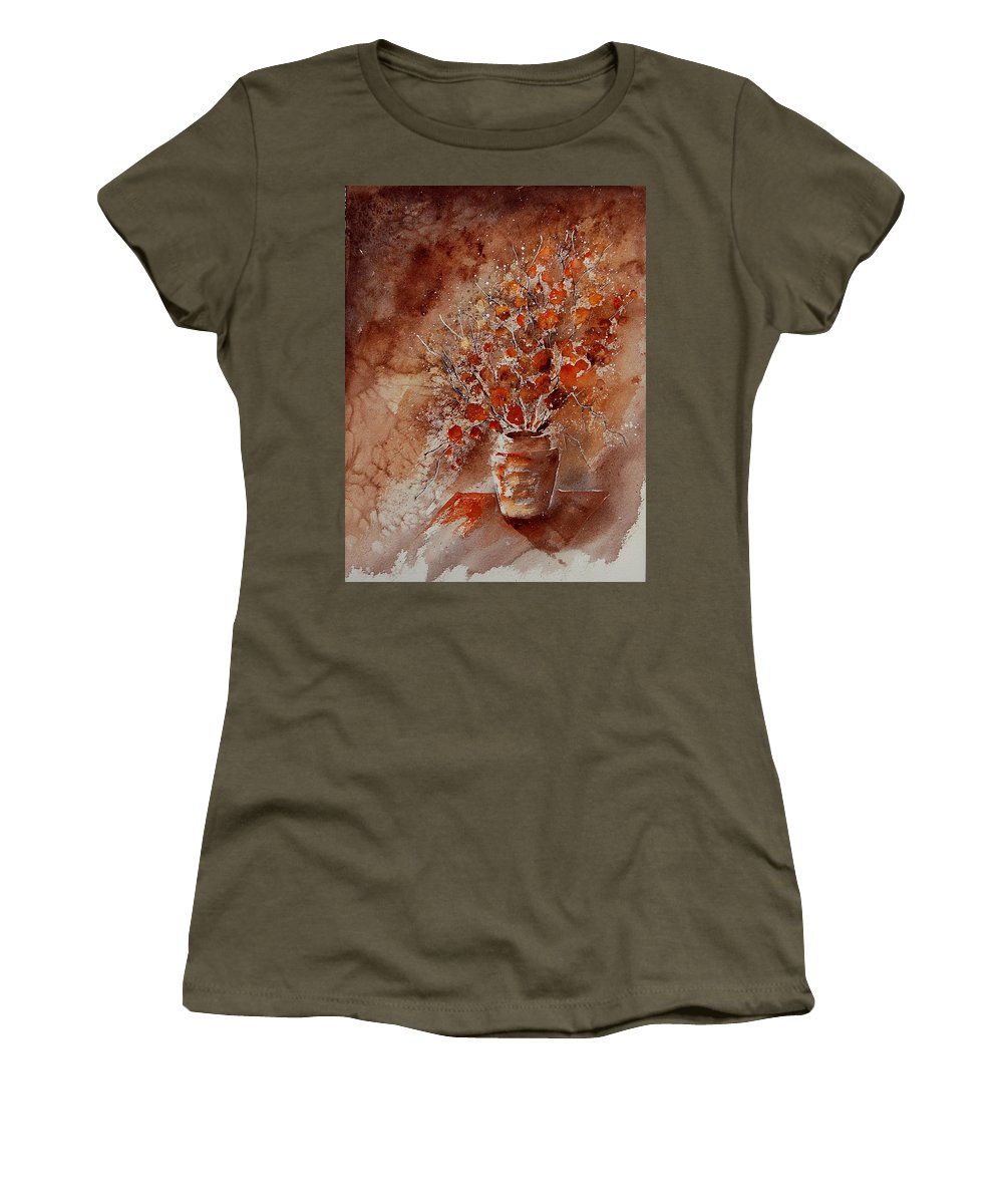 Flowers Women's T-Shirt (Athletic Fit) featuring the painting Aqua 070108 by Pol Ledent
