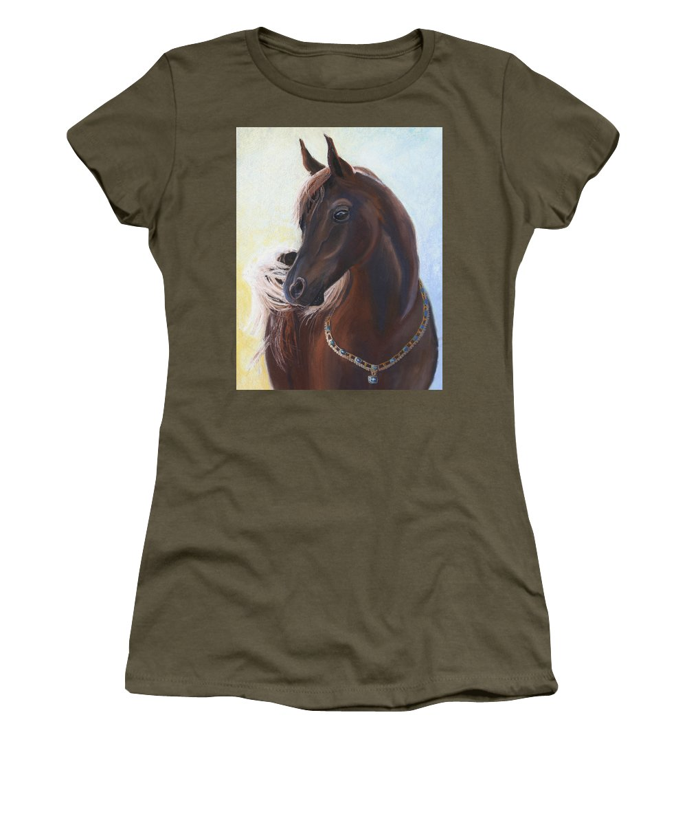 Horse Women's T-Shirt (Athletic Fit) featuring the painting Arabian Prince by Heather Coen