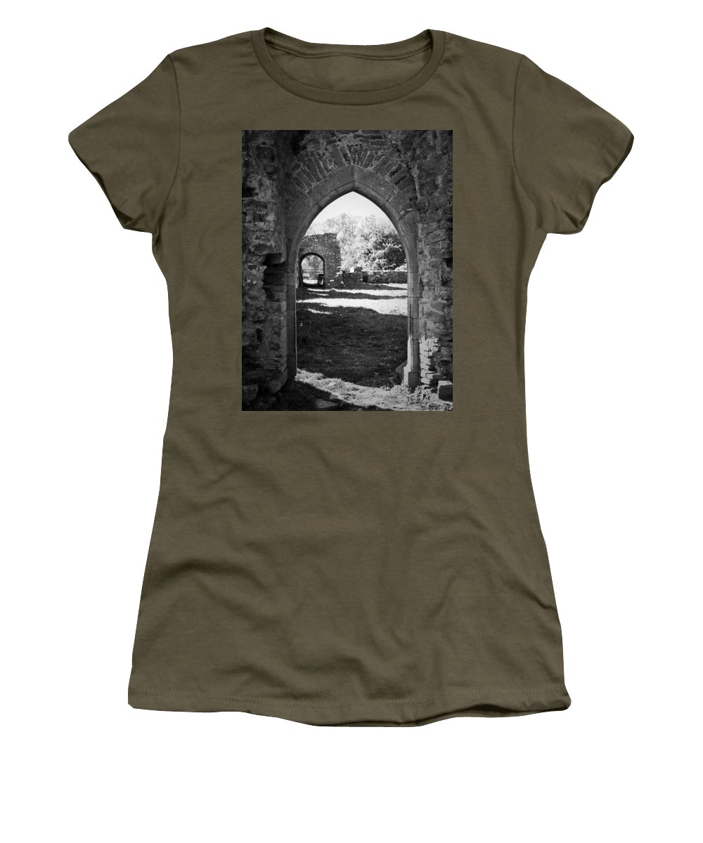 Irish Women's T-Shirt featuring the photograph Arched Door At Ballybeg Priory In Buttevant Ireland by Teresa Mucha