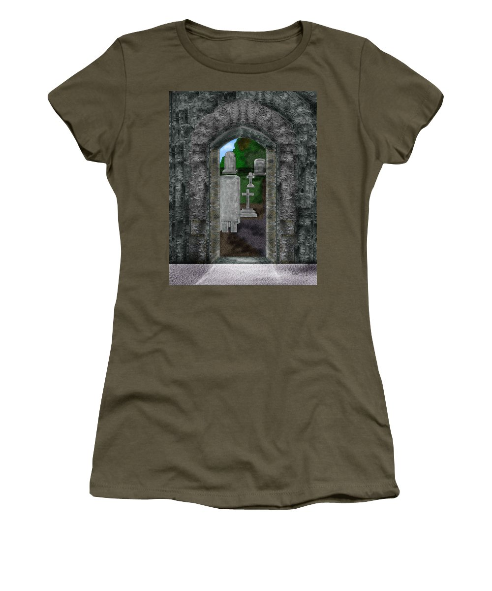 Digital Landscape Women's T-Shirt (Athletic Fit) featuring the painting Arches And Cross In Ireland by Anne Norskog