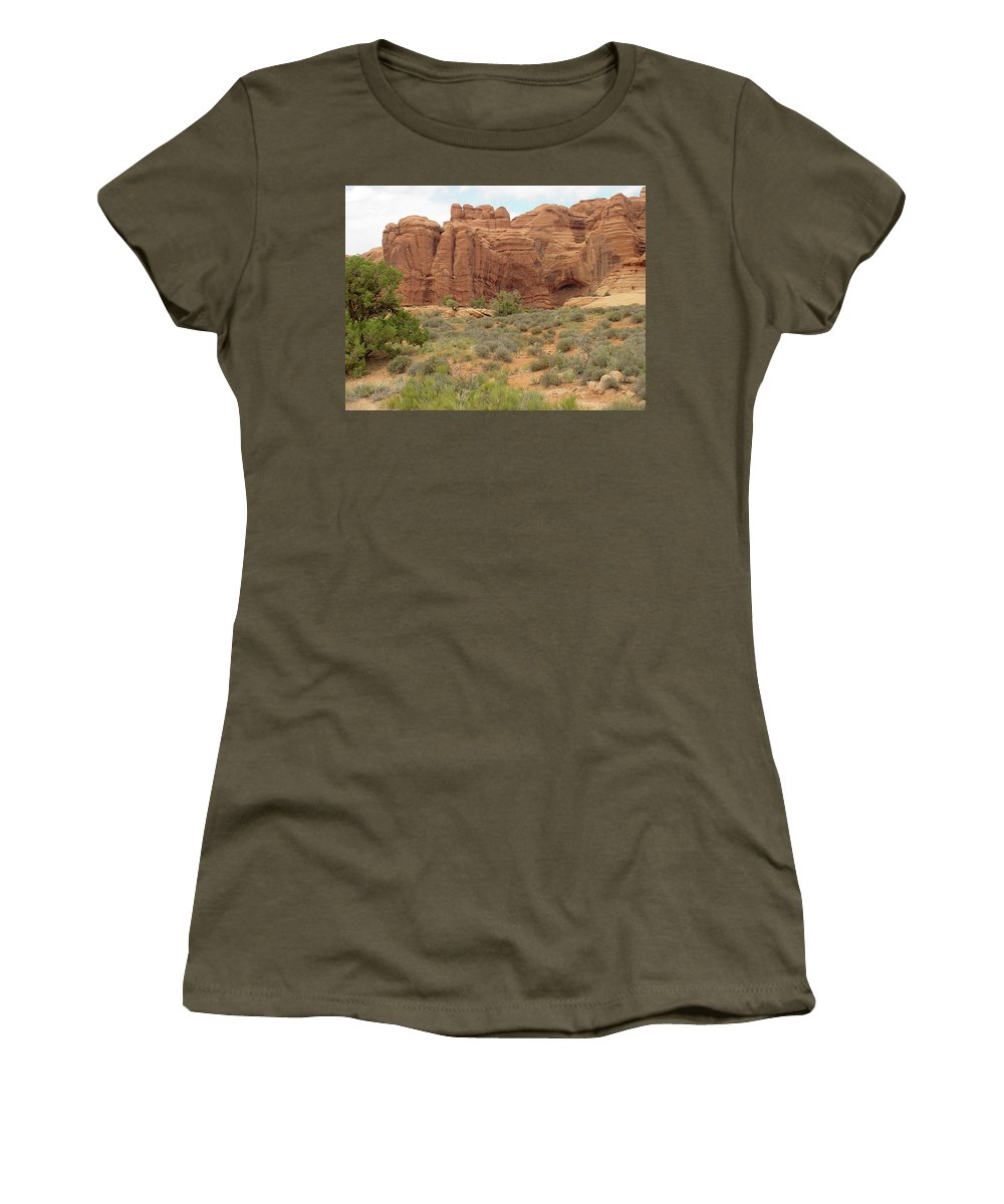 Arches National Park Women's T-Shirt (Athletic Fit) featuring the photograph Arches Formation 31 by Dawn Amber Hood