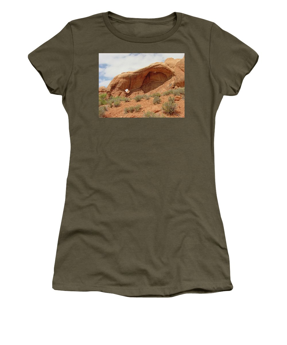 Arches National Park Women's T-Shirt (Athletic Fit) featuring the photograph Arches Formation 40 by Dawn Amber Hood