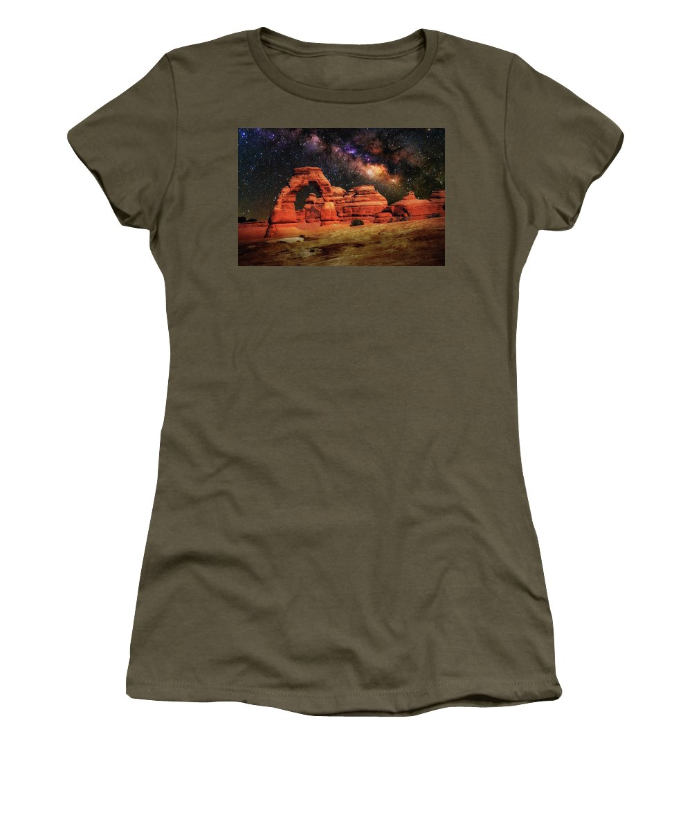 Delicate Arch Women's T-Shirt (Athletic Fit) featuring the photograph Arches National Park 44 by Mike Penney
