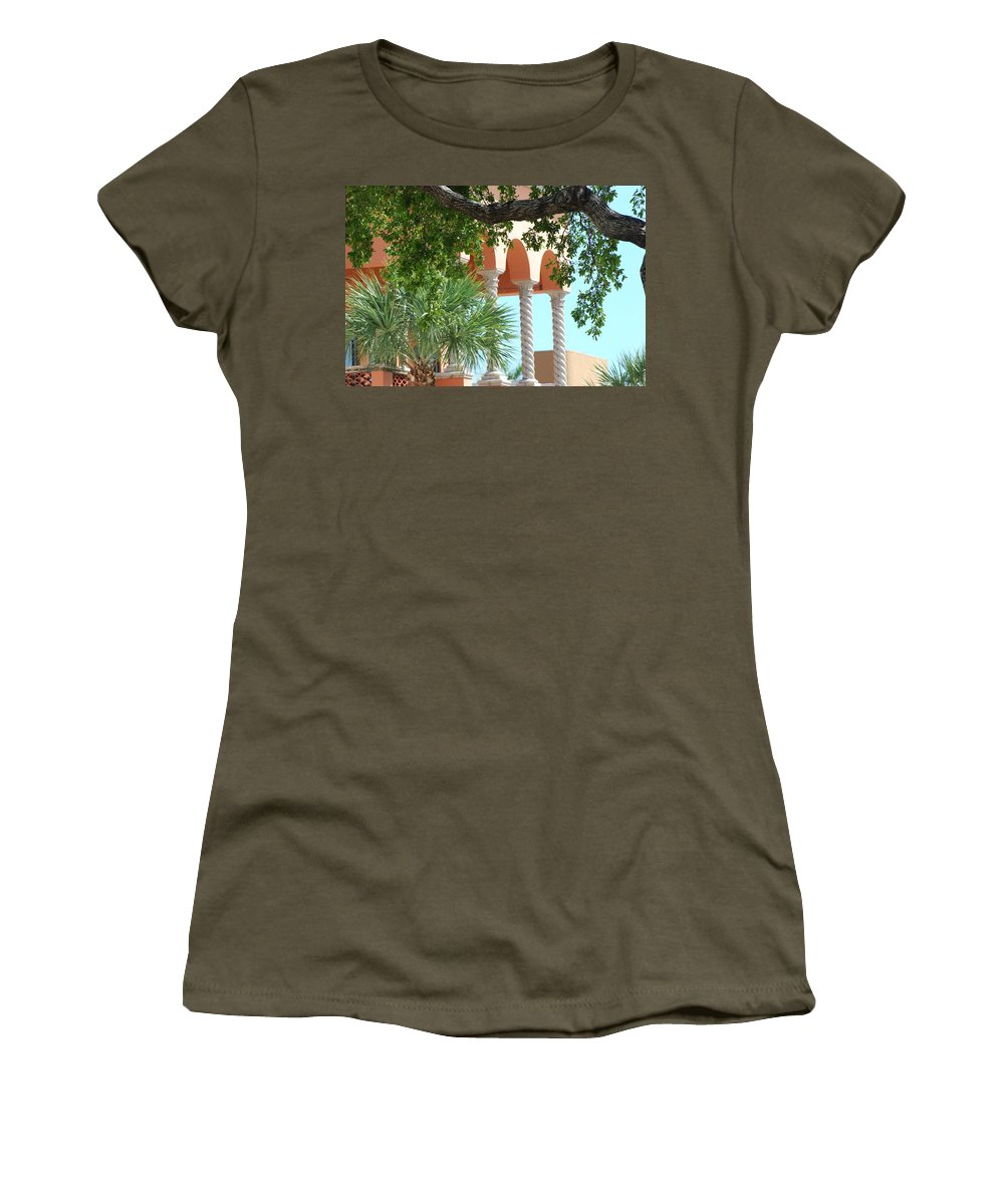 Architecture Women's T-Shirt (Athletic Fit) featuring the photograph Arches Thru The Trees by Rob Hans