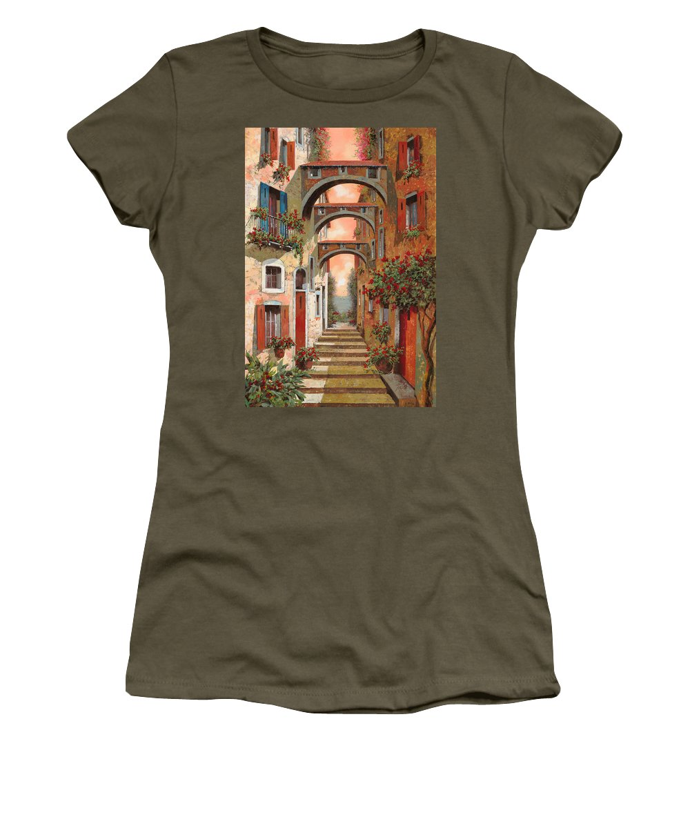 Arches Women's T-Shirt (Athletic Fit) featuring the painting Archetti In Rosso by Guido Borelli