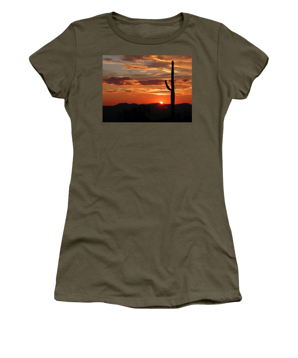 Arizona Landscape Photography With Giant Saguaro At Sunset Women's T-Shirt featuring the photograph Arizona by Gallery Of Modern Art