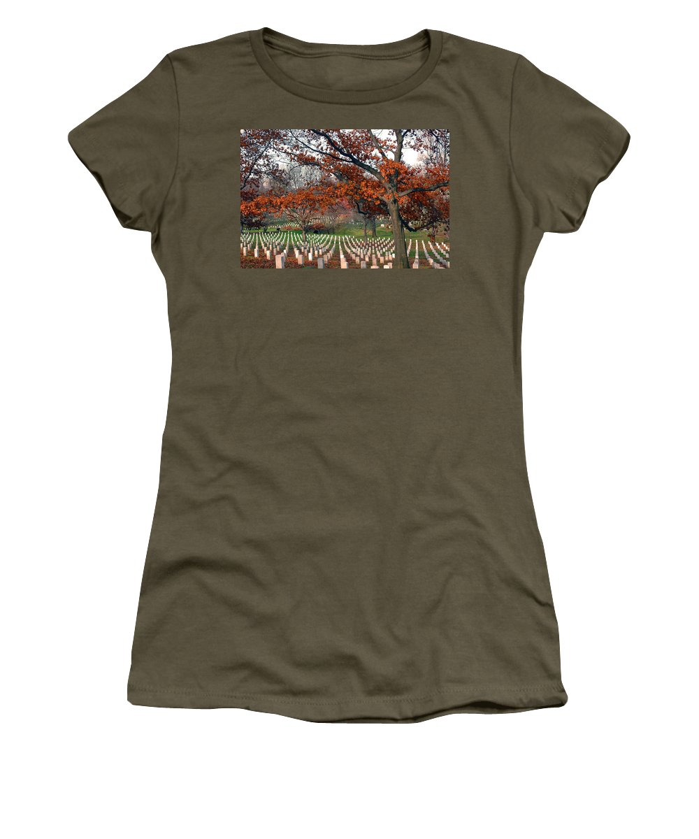 Veteran Women's T-Shirt featuring the photograph Arlington Cemetery In Fall by Carolyn Marshall