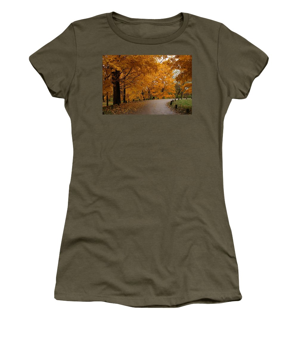 Leaves Women's T-Shirt featuring the photograph Around The Bend by Lyle Hatch