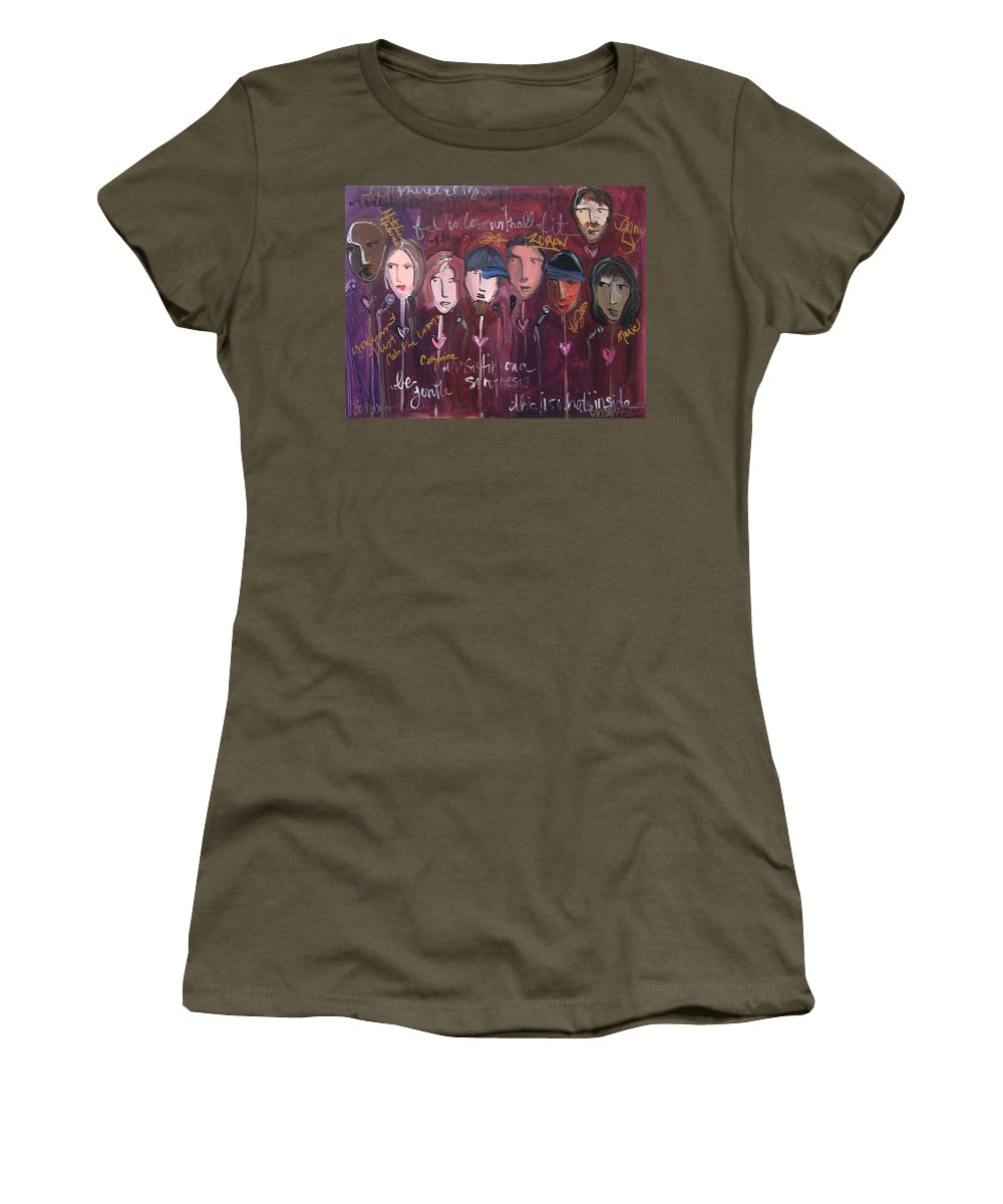 Laurie Maves Art Women's T-Shirt featuring the painting Art From Ashes 2010 by Laurie Maves ART