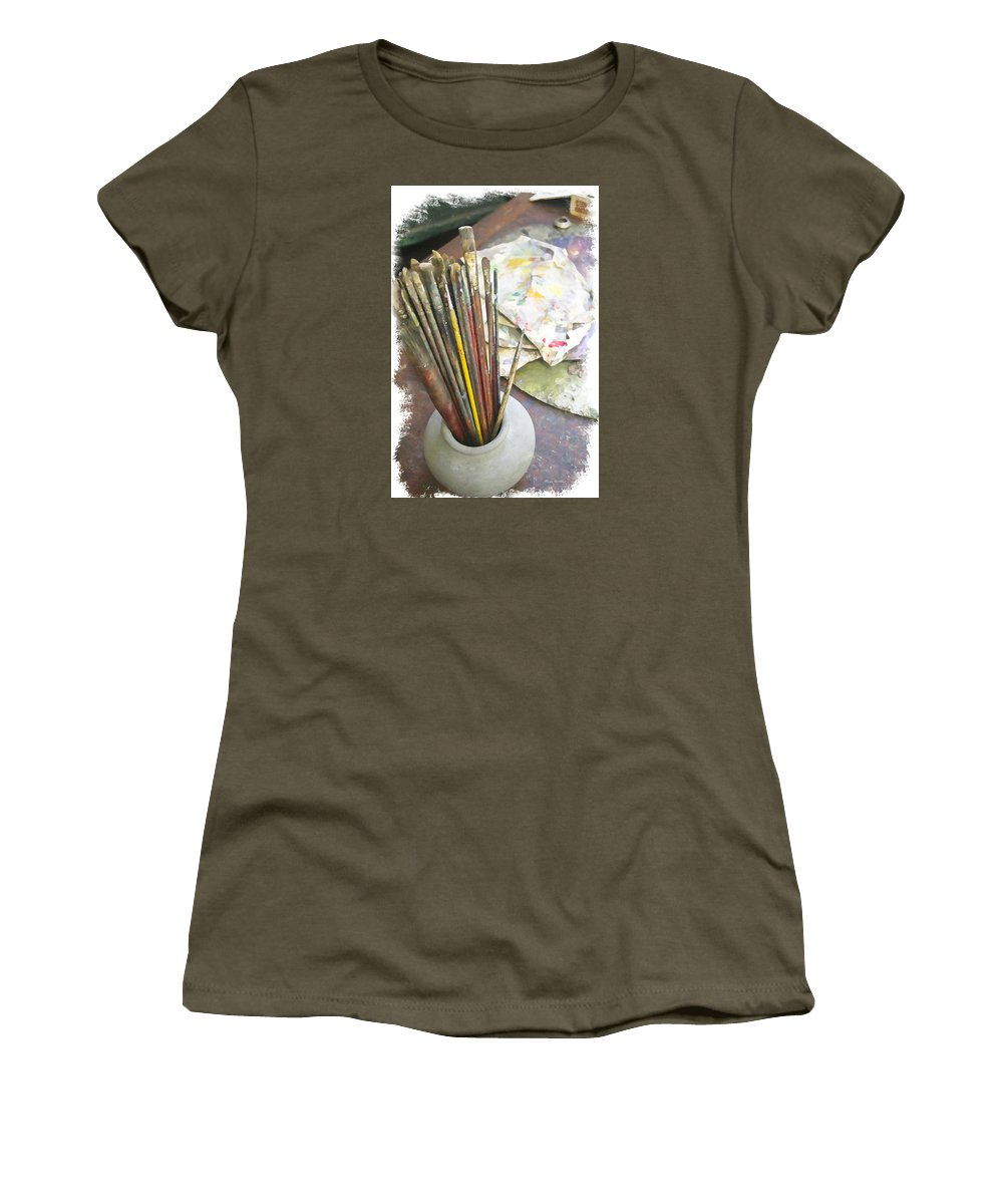 Artist Women's T-Shirt (Athletic Fit) featuring the photograph Artist Brushes by Margie Wildblood