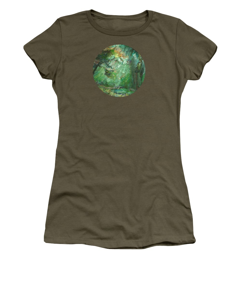 Landscape Women's T-Shirt featuring the painting Rainy Woods by Mary Wolf
