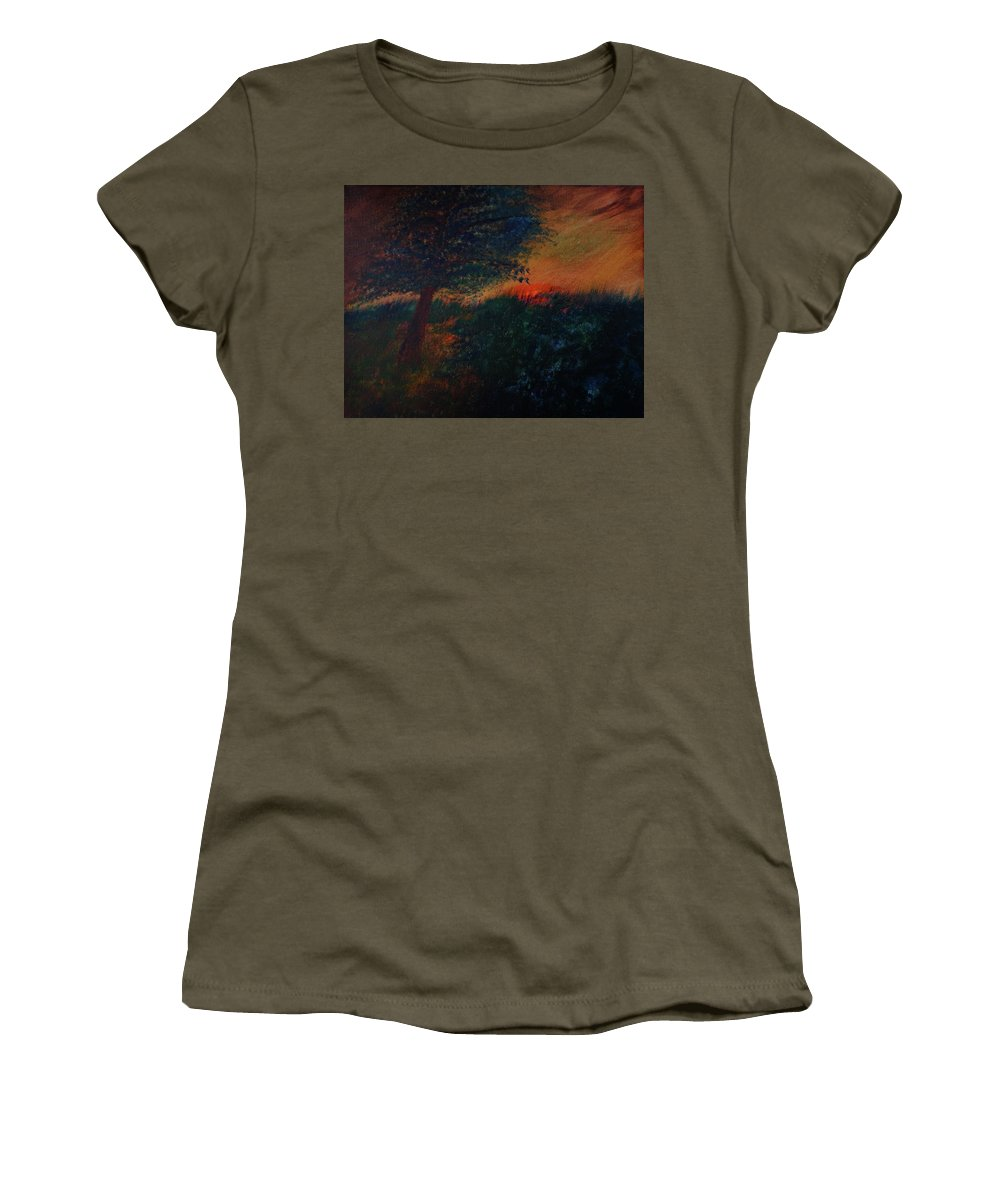 Dark Women's T-Shirt featuring the painting As The Sun Sets by Dick Bourgault