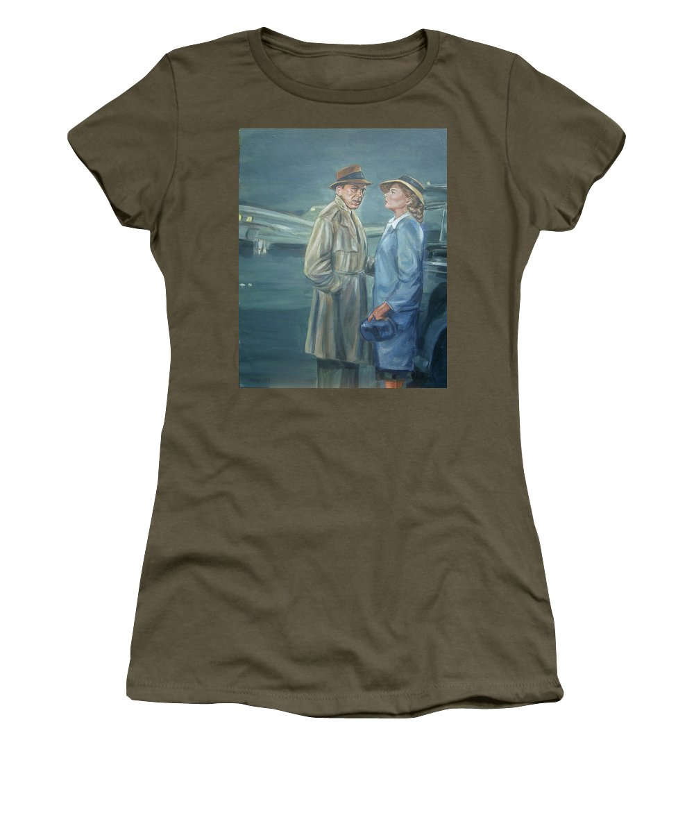 Casablanca Women's T-Shirt featuring the painting As Time Goes By by Bryan Bustard